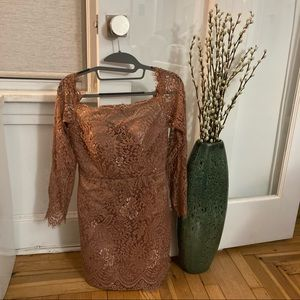 Hebeos Rose Gold / Nude Lace Dress Size XS-S